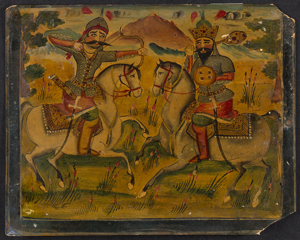 Painting of a Battle between Two Men on Horseback