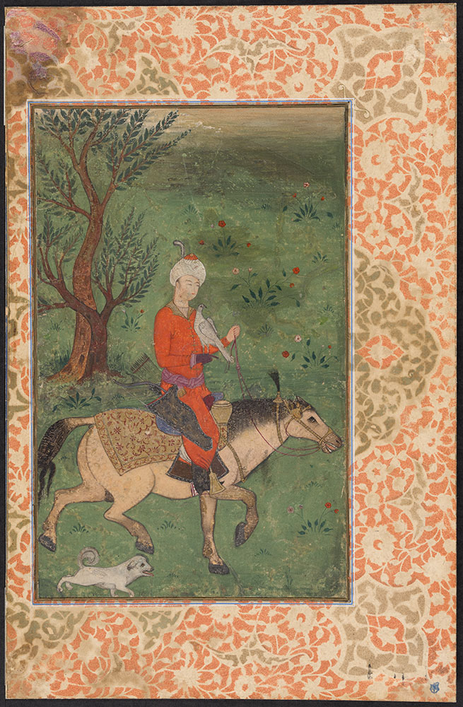 A Prince Hunting on Horseback with His Falcon and Dog