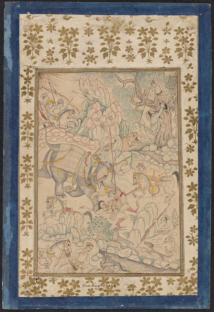 Drawing of Emperor Akbar Hunting Tigers from an Elephant