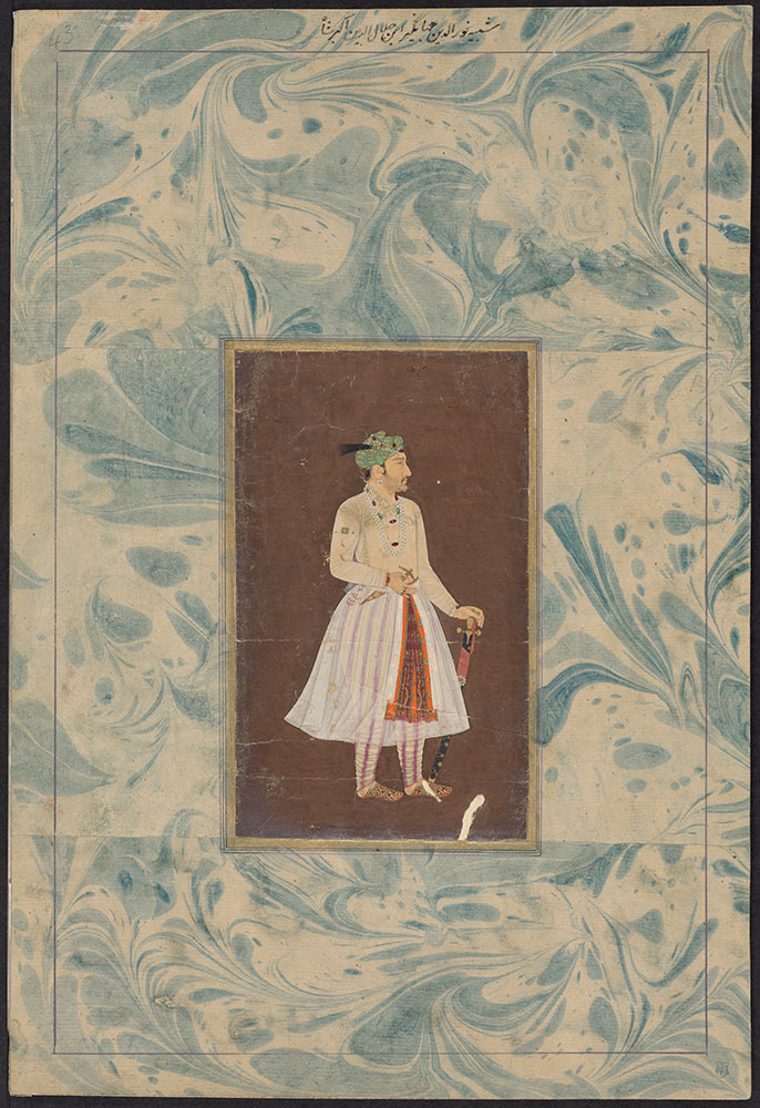 Portrait of Emperor Jahangir on a Brown Background