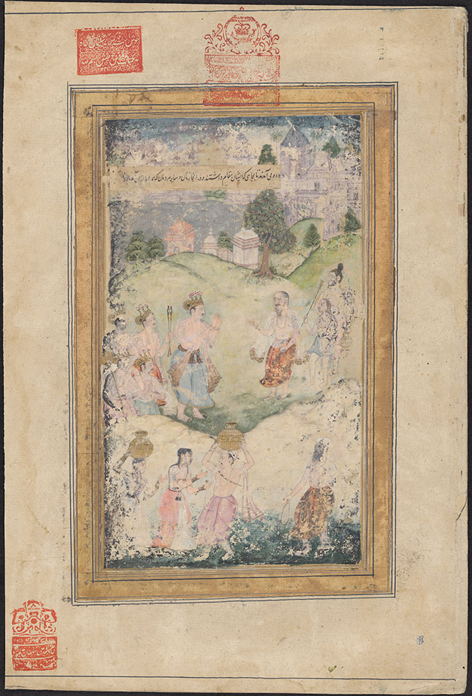 Painting of a Scene from the Razmnama of a Brahmin Meeting a King and His Attendants