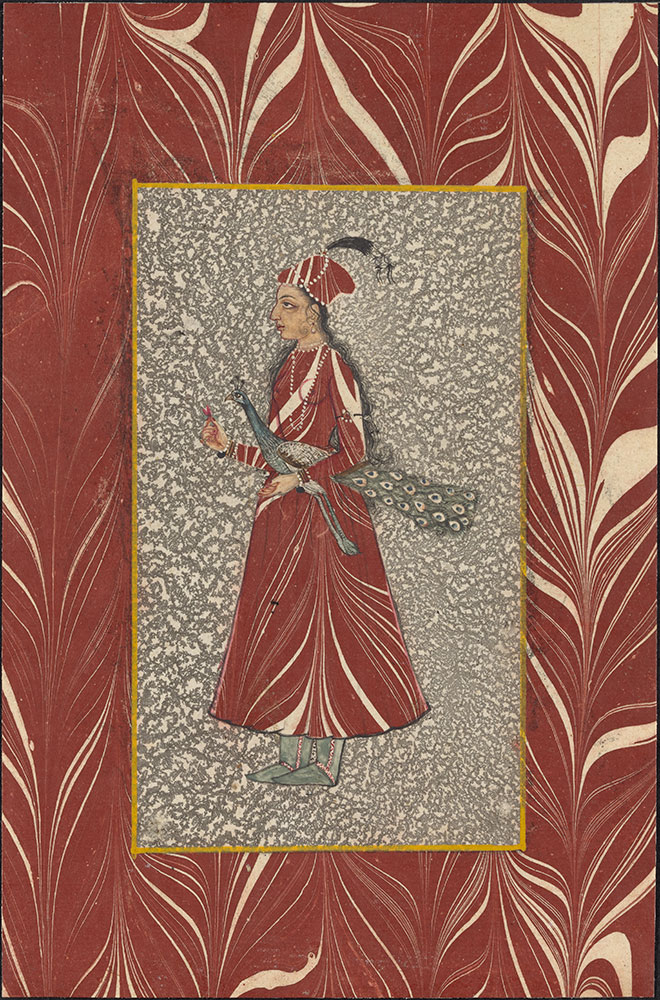 Marbled Paper Portrait of a Lady Carrying a Peacock