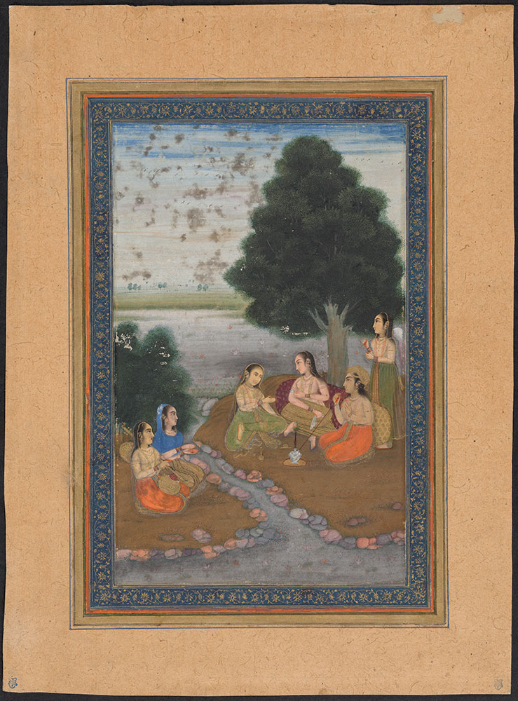 Painting of a Mughal Princess and Her Attendants by a Stream