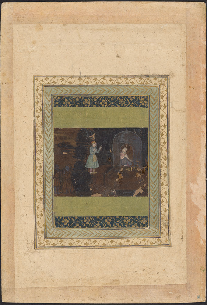Painting of a Man Visiting a Woman at Night on Her Terrace