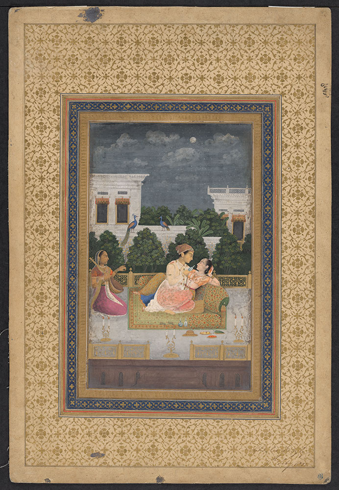 Painting of a Man and Woman Embracing on a Palace Terrace