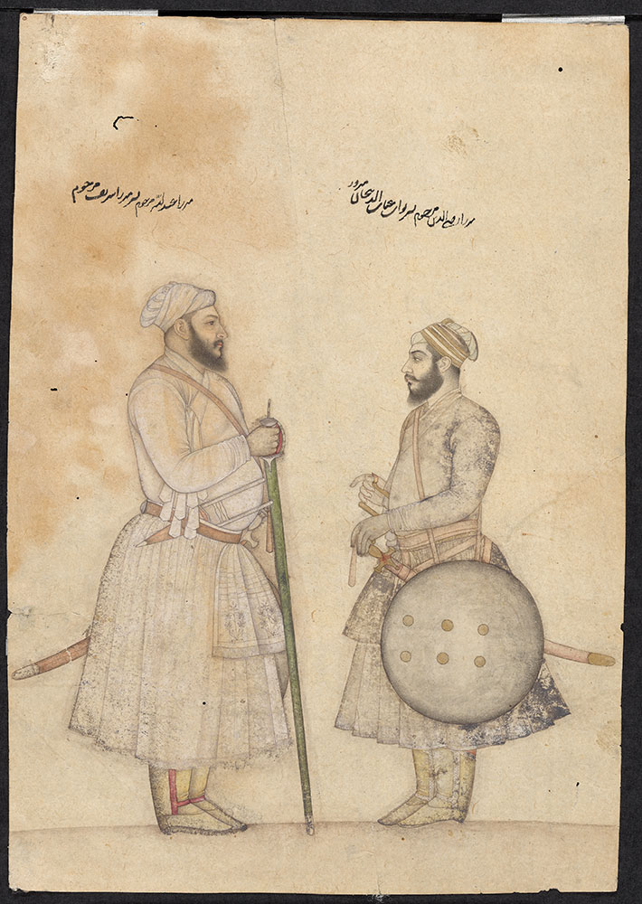 Drawing of Two Mughal Noblemen
