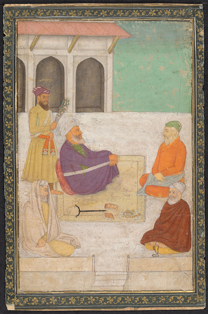 Painting of a Group of Mullahs on a Terrace
