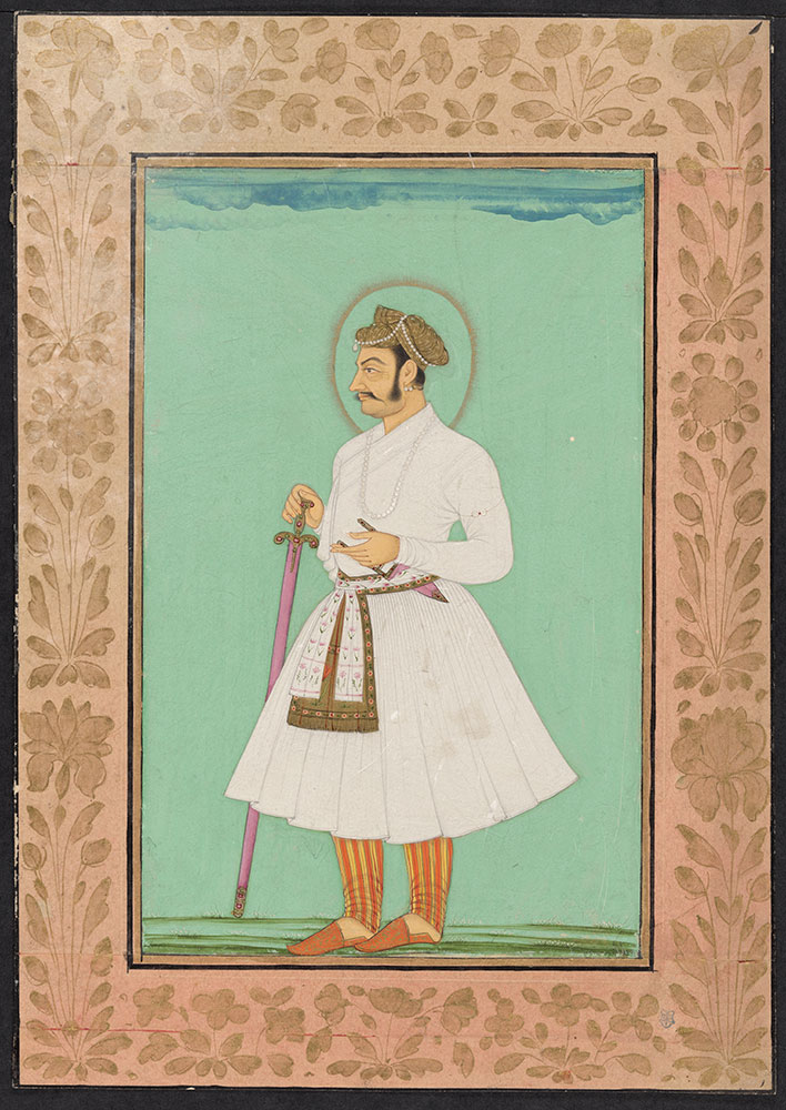 Portrait of Emperor Jahangir Standing in Striped Trousers