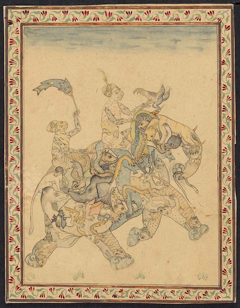 Drawing of Two Demons Riding a Composite Elephant