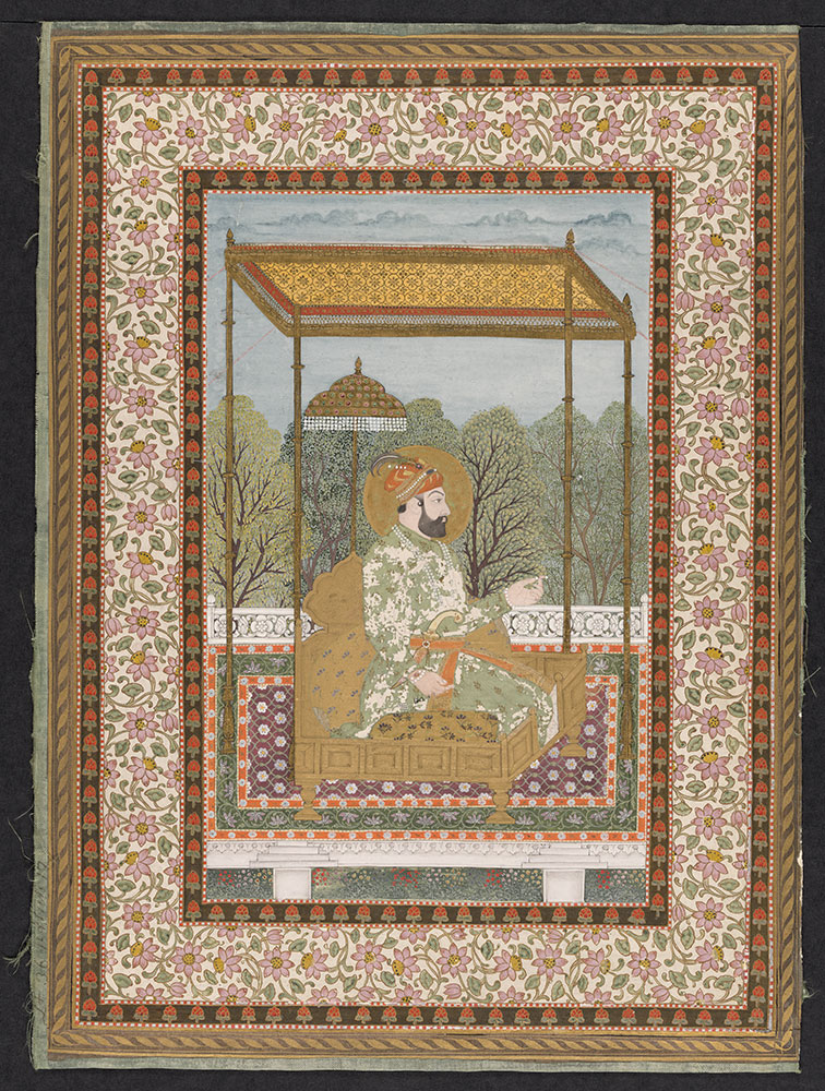 Portrait of Farrukhsiyar on a Terrace, with Elaborate Borders