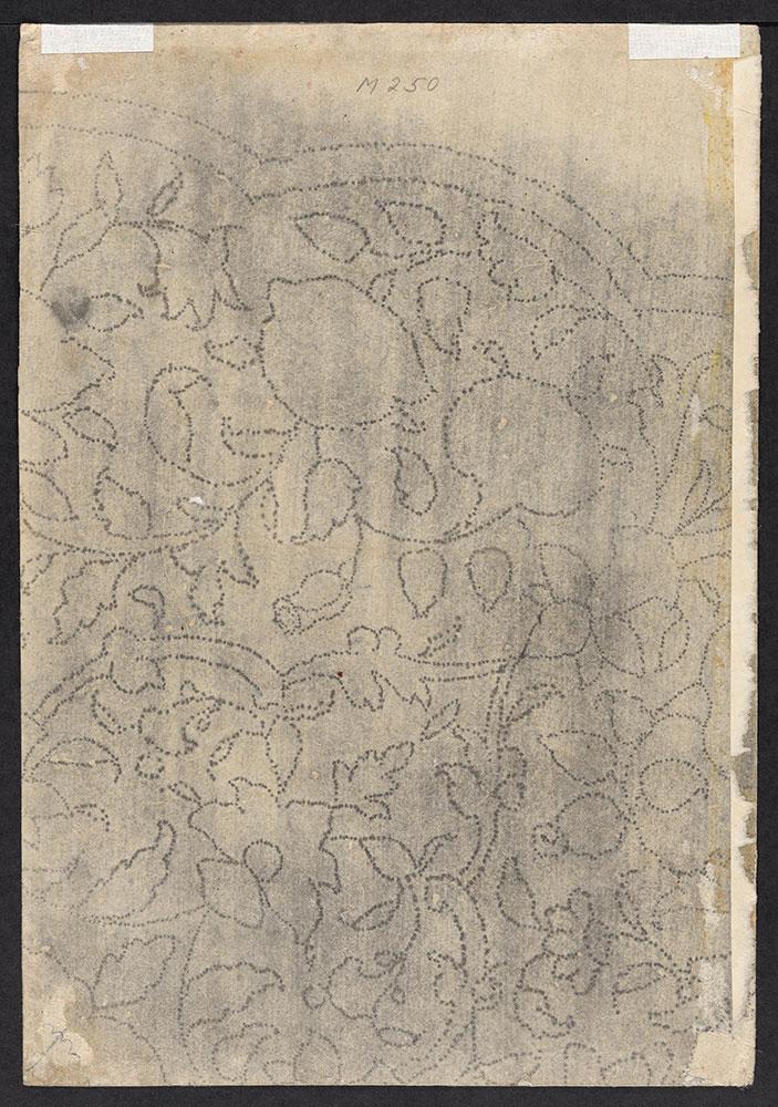 Fragment of a Foliate Design Pounced in Dark Chalk