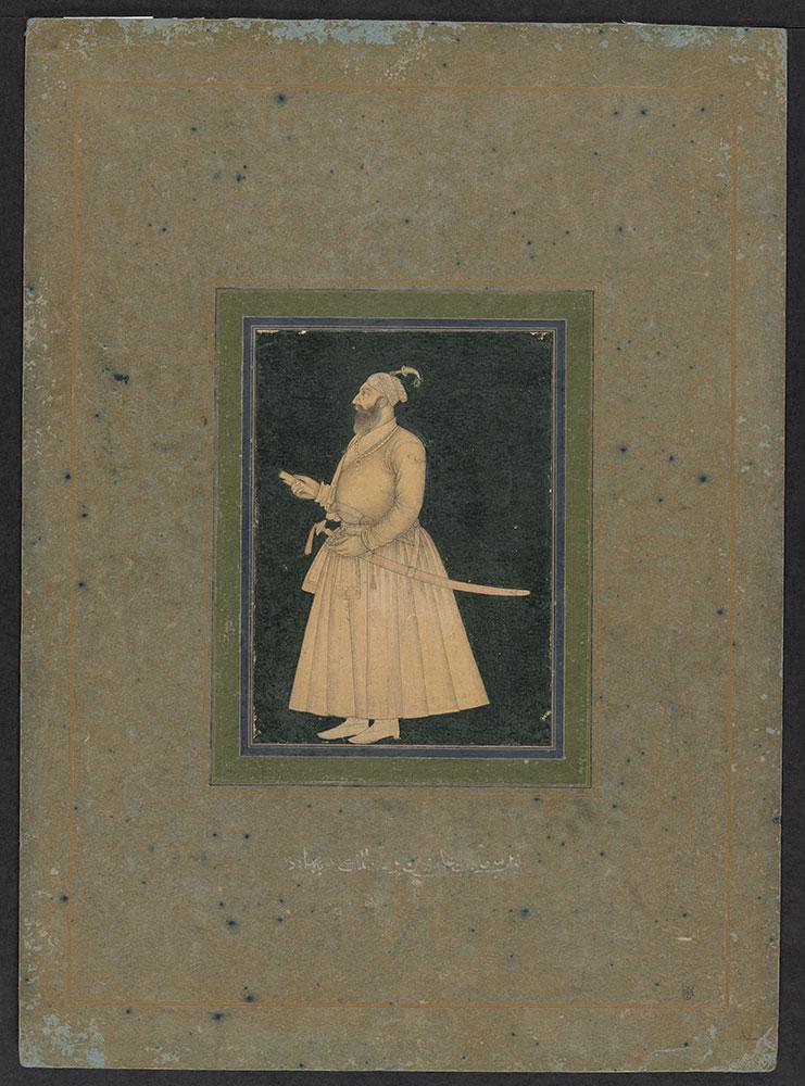 Portrait Line-Drawing of Saadat Ali Khan I on a Black Background