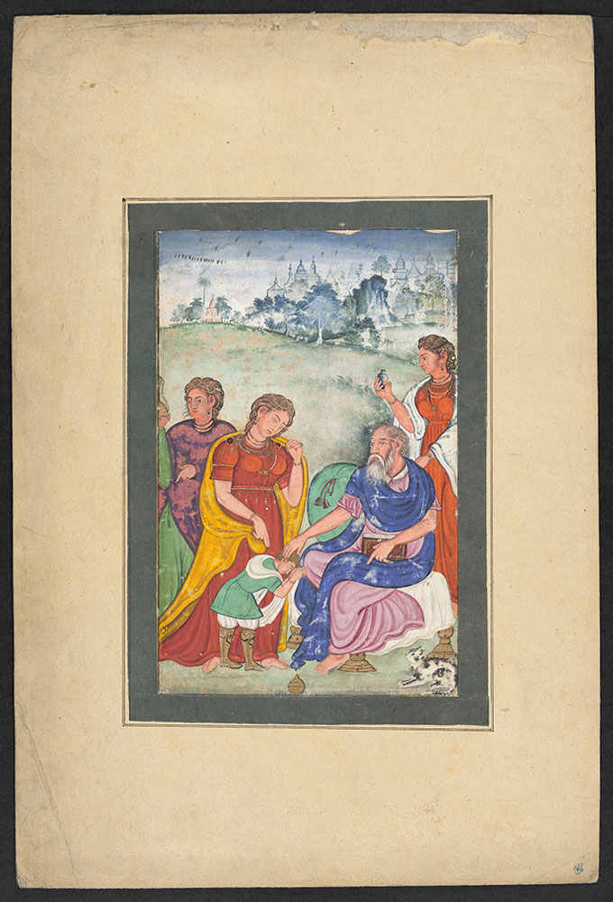 Copy of an Unidentified European Painting of an Old Man Blessing a Boy Surrounded by Women