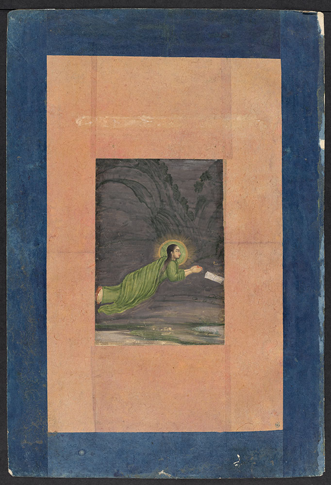 Painting of a Haloed Woman Praying with a Book
