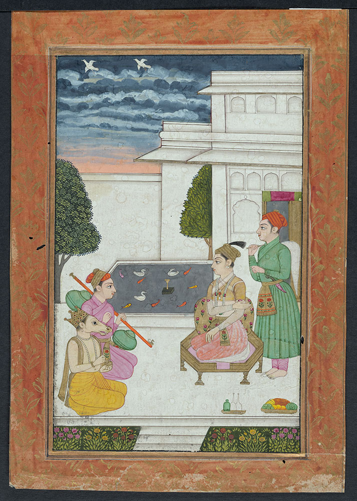 Ragamala Painting of a Prince with a Horse-Headed Man and a Musician Playing the Veena