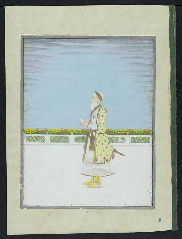 Portrait of Nizamul Mulk Asif Jah Holding a Piece of Paper.