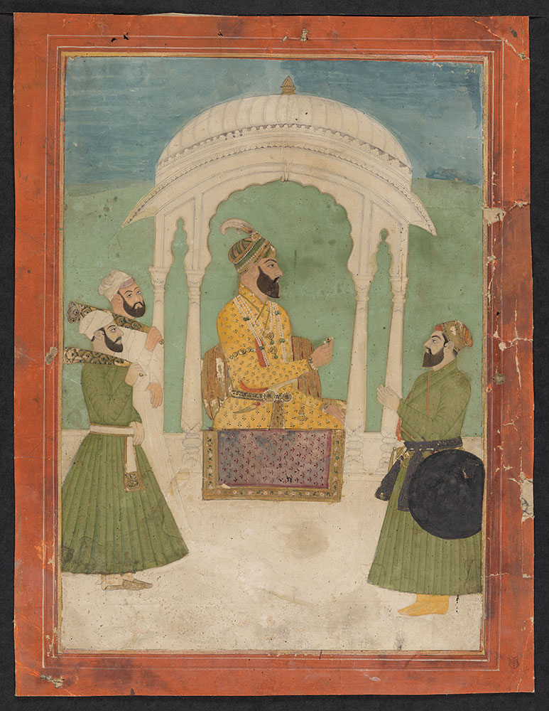 Portrait of Unidentified Mughal Emperor Under a Canopy with His Attendants
