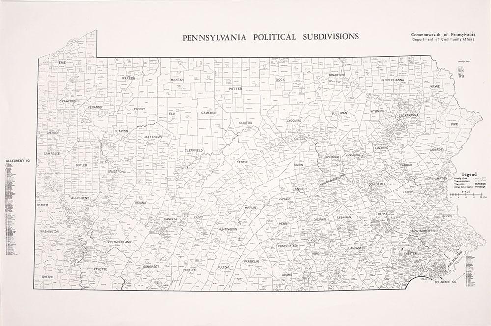 Pennsylvania Political Subdivisions, 1977, Map
