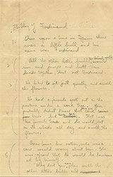 Manuscript for The Story of Ferdinand, page 1