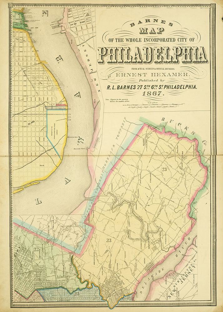 Map of the Whole Incorporated City of Philadelphia, 1867, Plate 1