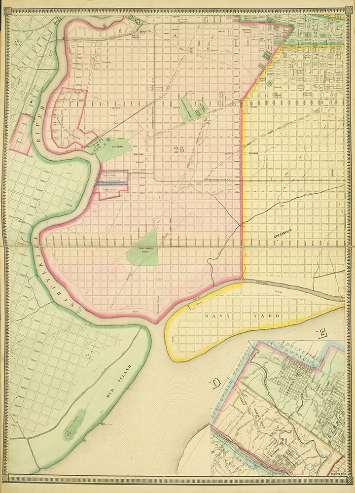 Map of the Whole Incorporated City of Philadelphia, 1867, Plate 2