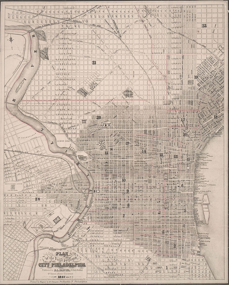 Plan of the Built Portions of the City of Philadelphia, 1857, Map