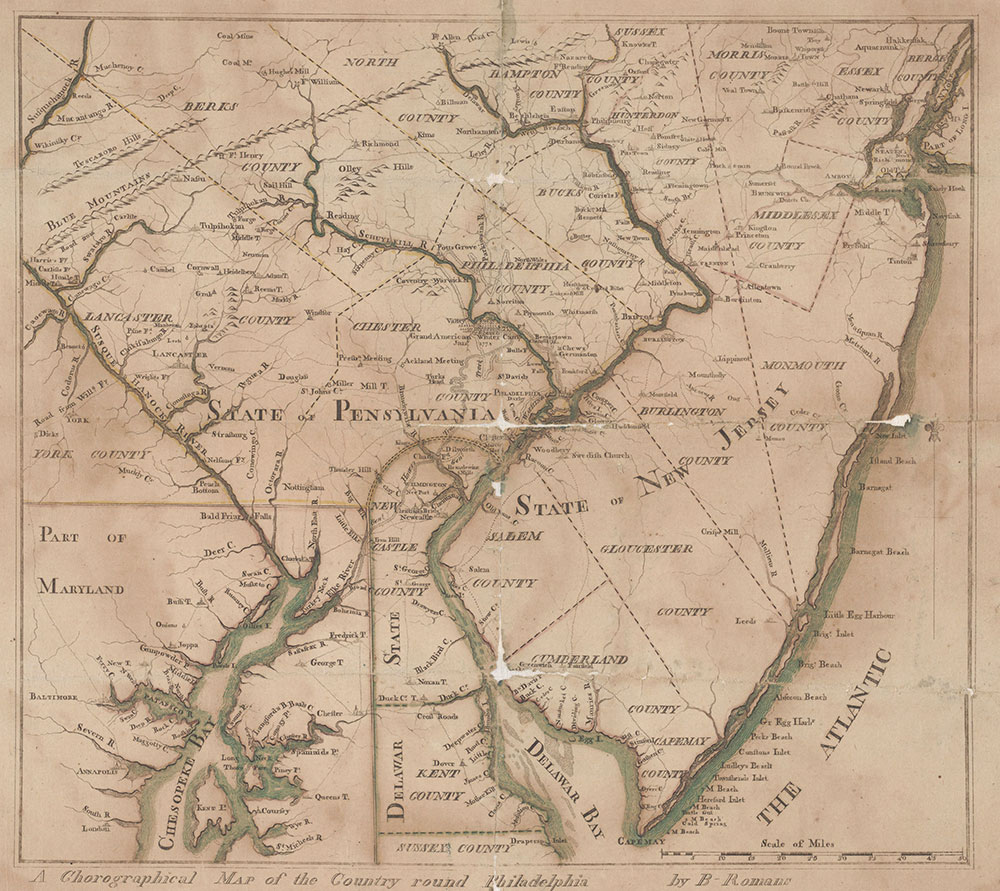 A Chorographical Map of the Country Round Philadelphia, 1778, Map