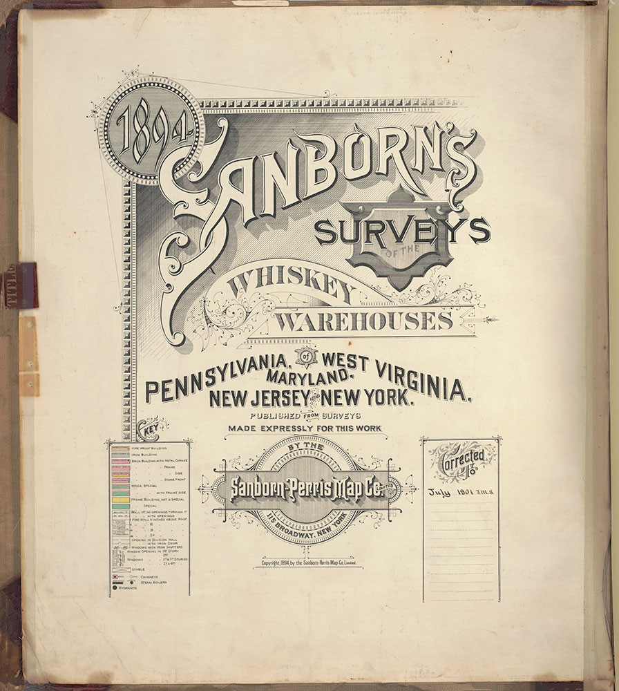 Sanborn's Surveys of the Whiskey Warehouses [...], 1894-1915, Title Page