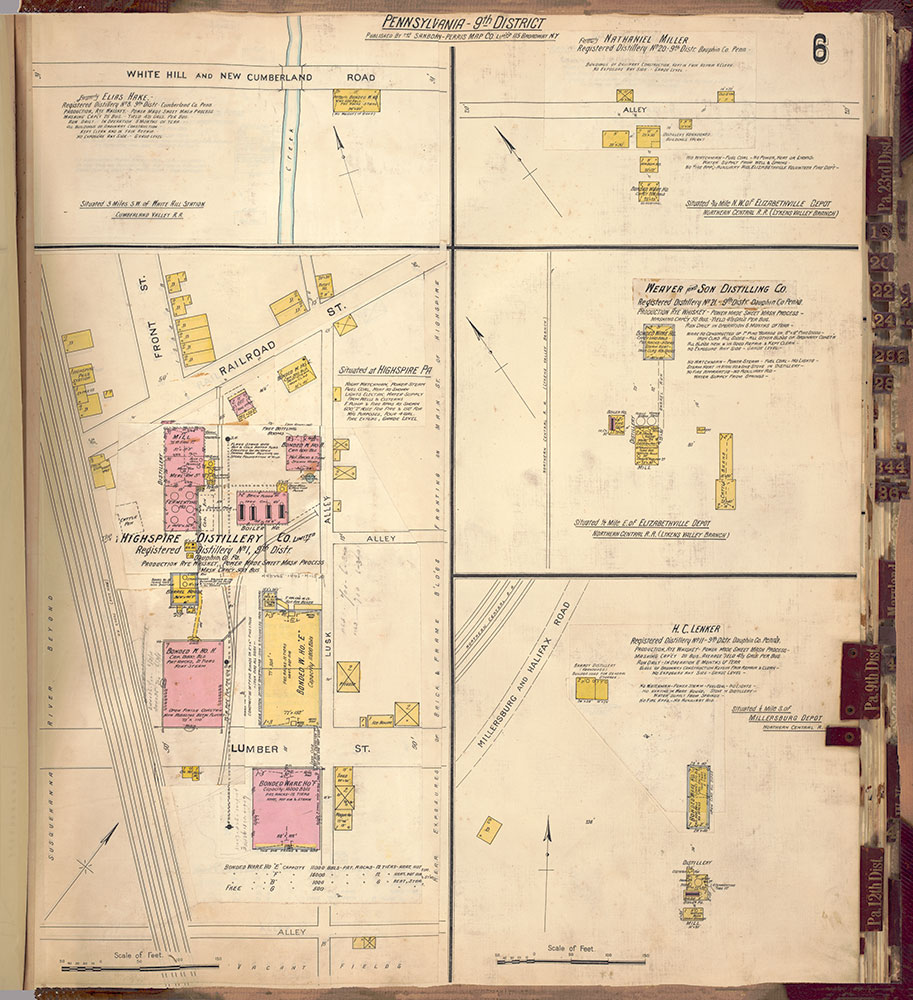 Sanborn's Surveys of the Whiskey Warehouses [...], 1894-1915, Plate 6