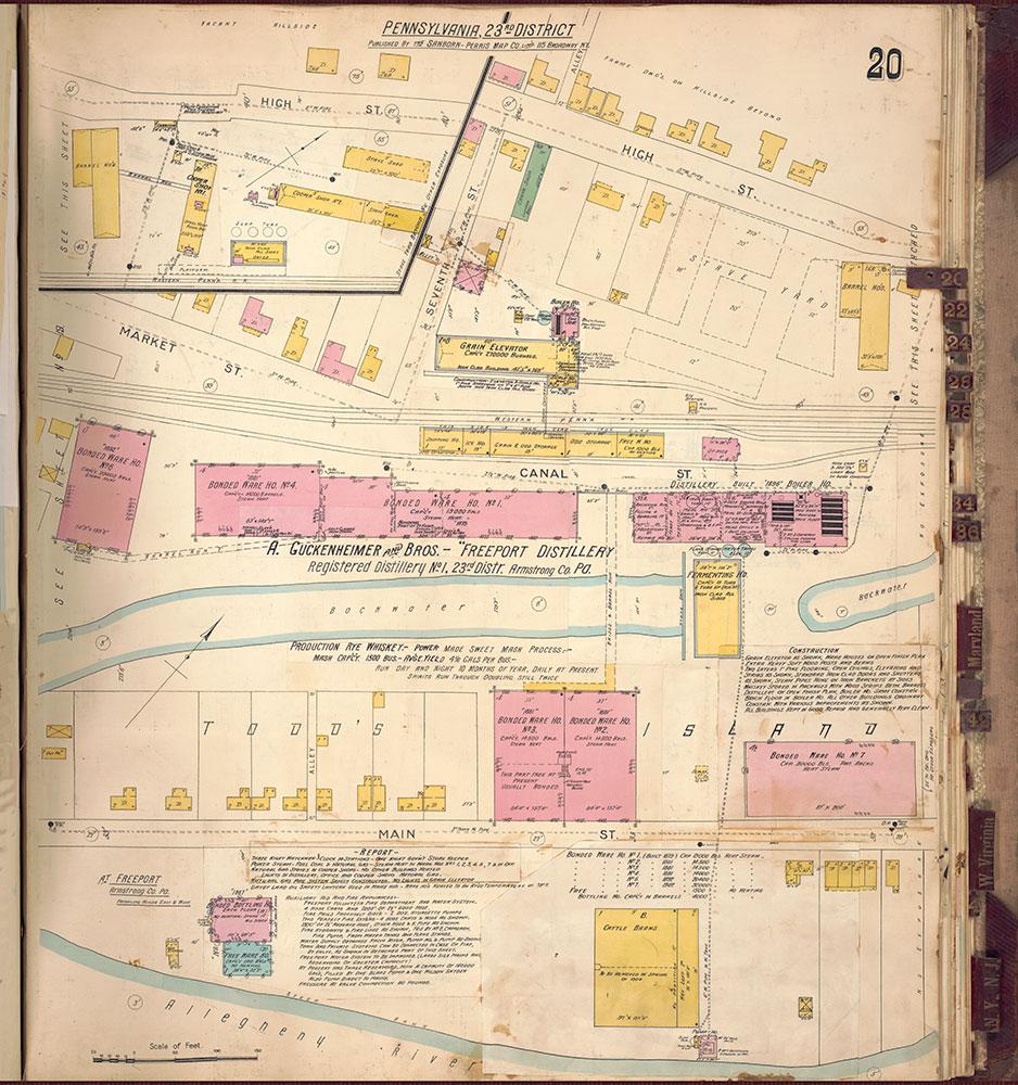 Sanborn's Surveys of the Whiskey Warehouses [...], 1894-1915, Plate 20