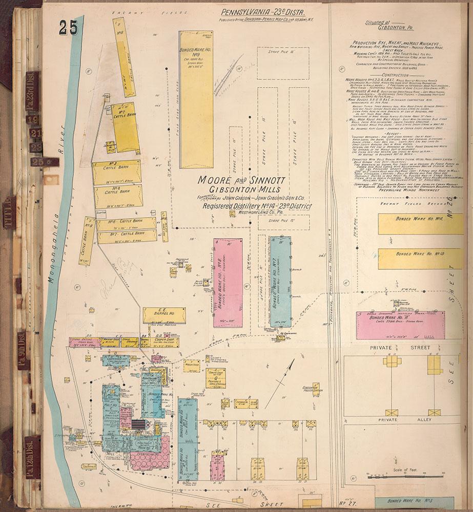 Sanborn's Surveys of the Whiskey Warehouses [...], 1894-1915, Plate 25