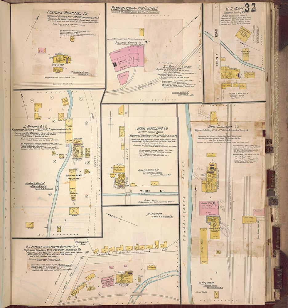 Sanborn's Surveys of the Whiskey Warehouses [...], 1894-1915, Plate 32