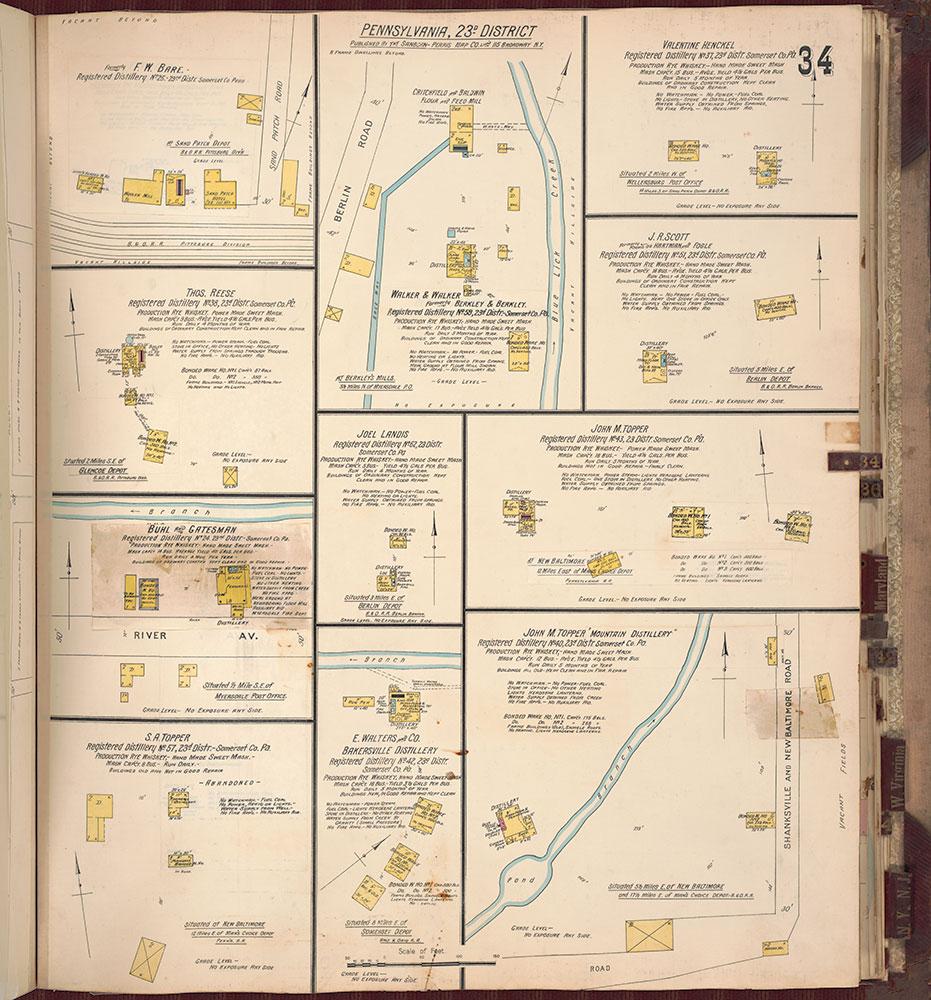 Sanborn's Surveys of the Whiskey Warehouses [...], 1894-1915, Plate 34