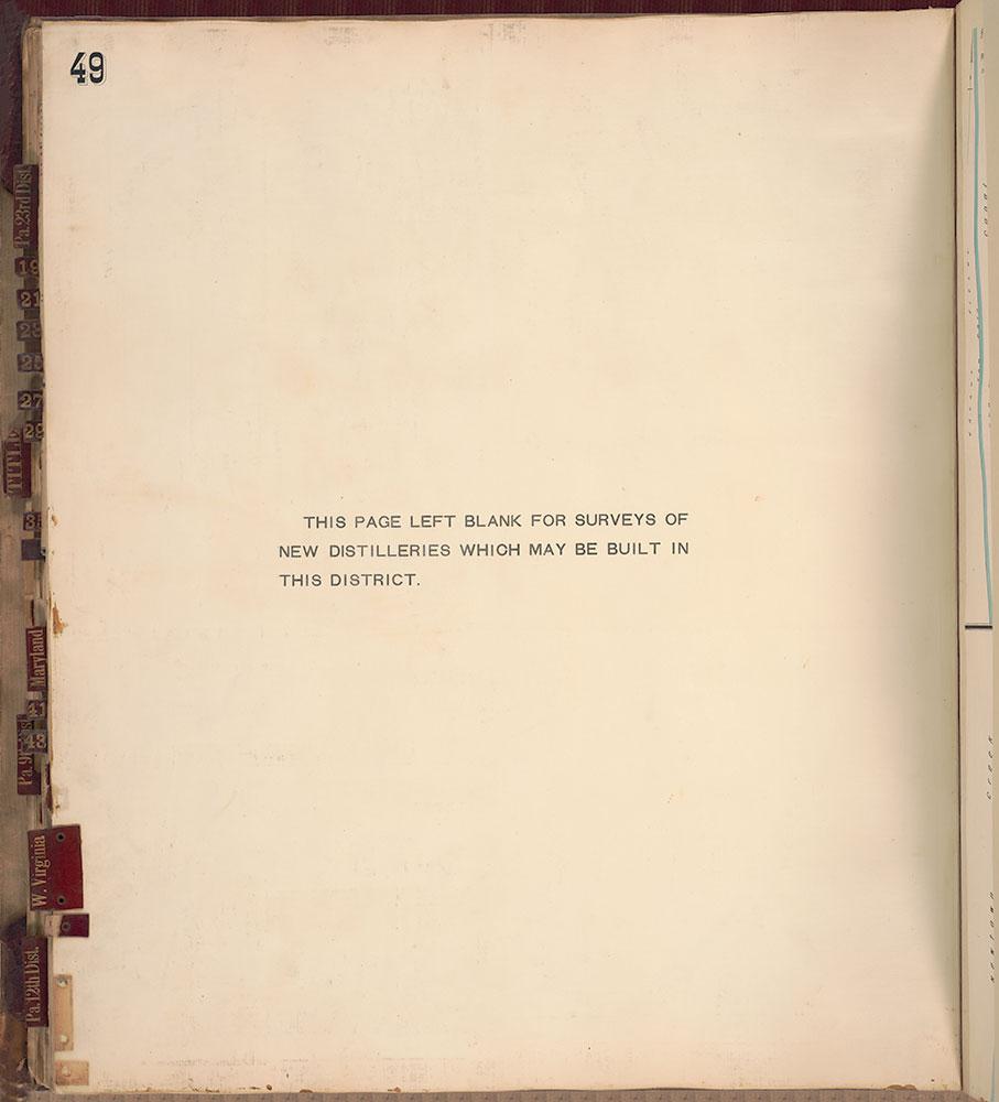 Sanborn's Surveys of the Whiskey Warehouses [...], 1894-1915, Plate 49 [Blank]