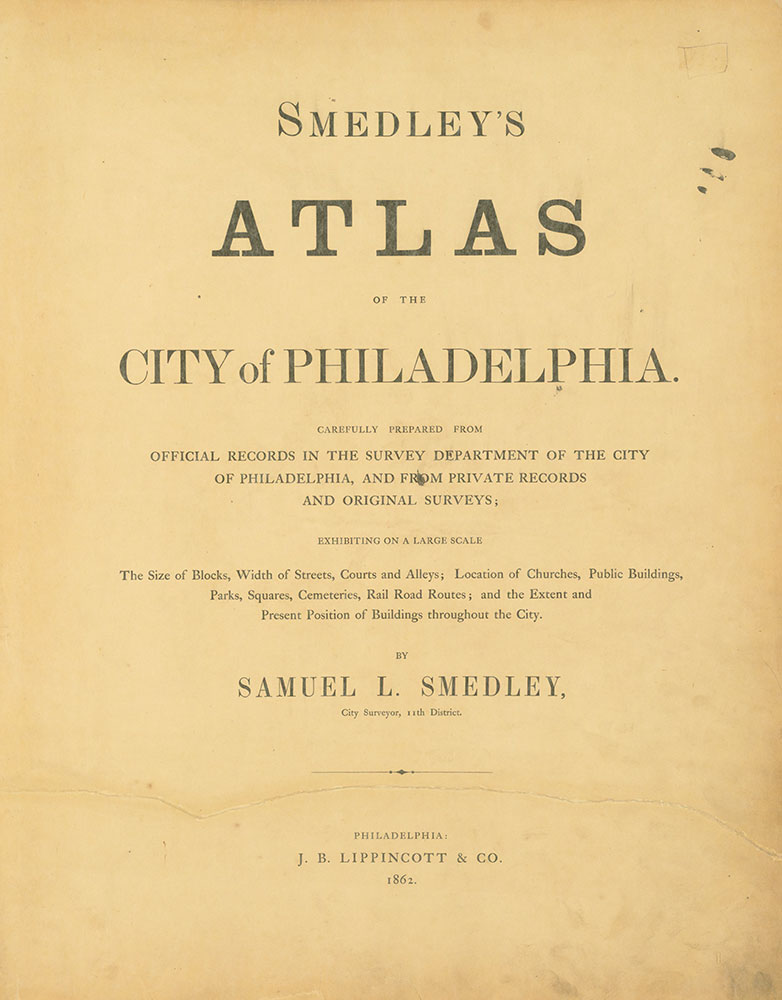 Atlas of the City of Philadelphia, 1862 Title Page 1