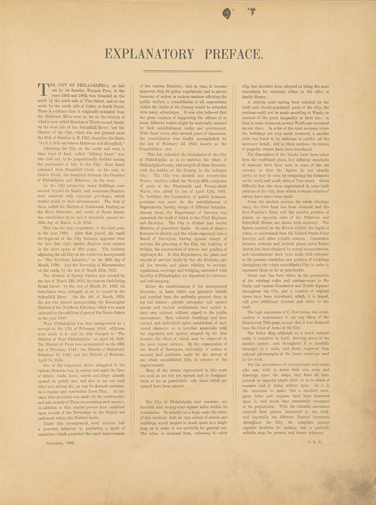 Atlas of the City of Philadelphia, 1862, Preface