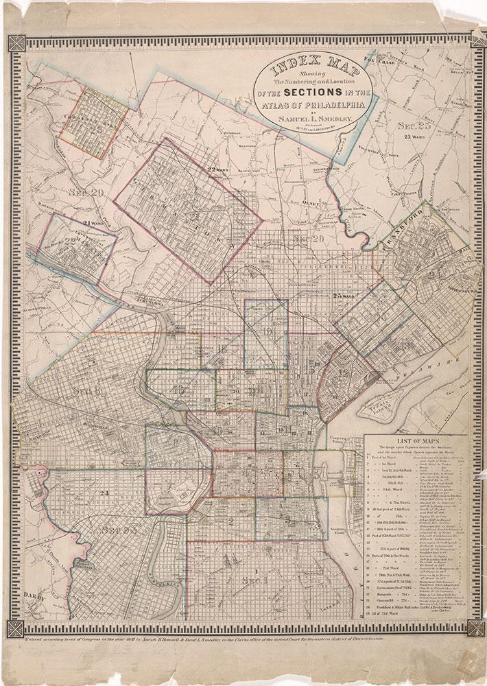 Atlas of the City of Philadelphia, 1862, Map Index