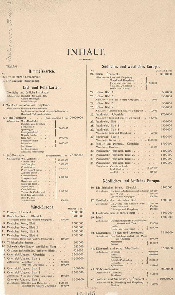 Stielers Hand-Atlas, Index