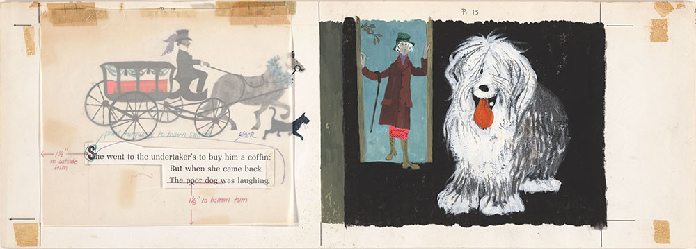 Final art for Old Mother Hubbard and Her Dog, pages 12 and 13