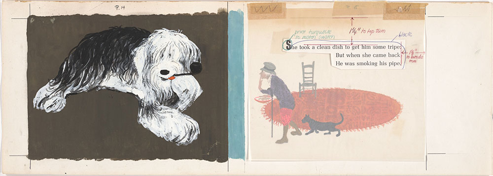 Final art for Old Mother Hubbard and Her Dog, pages 14 and 15
