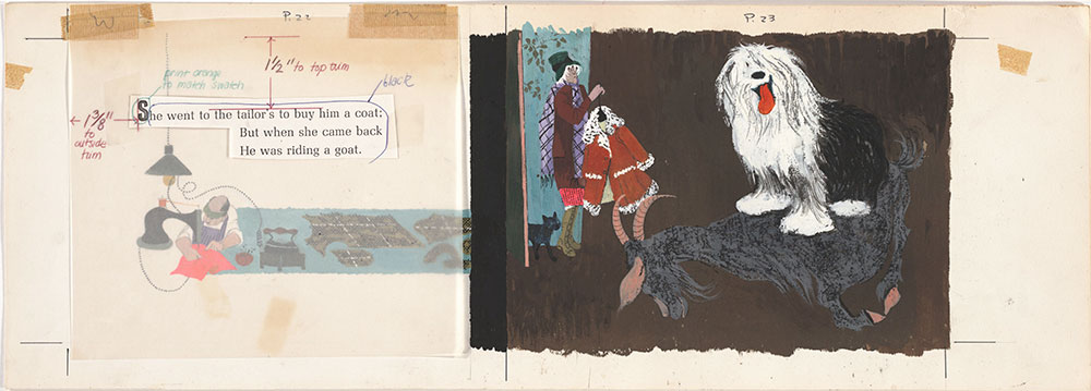 Final art for Old Mother Hubbard and Her Dog, pages 22 and 23