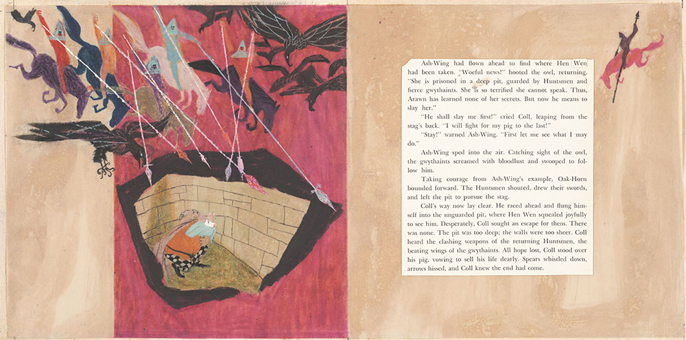 Final art for Coll and His White Pig, pages 20 and 21