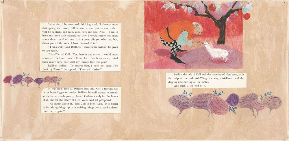 Final art for Coll and His White Pig, pages 30 and 31