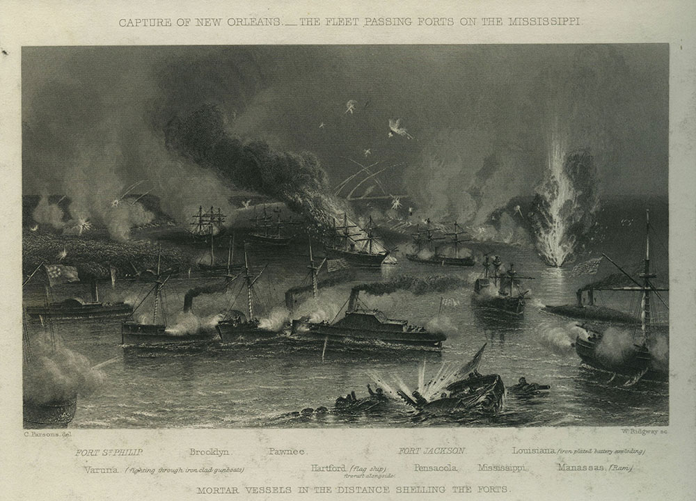 Capture of New Orleans : The Fleet Passing Forts on the Mississippi