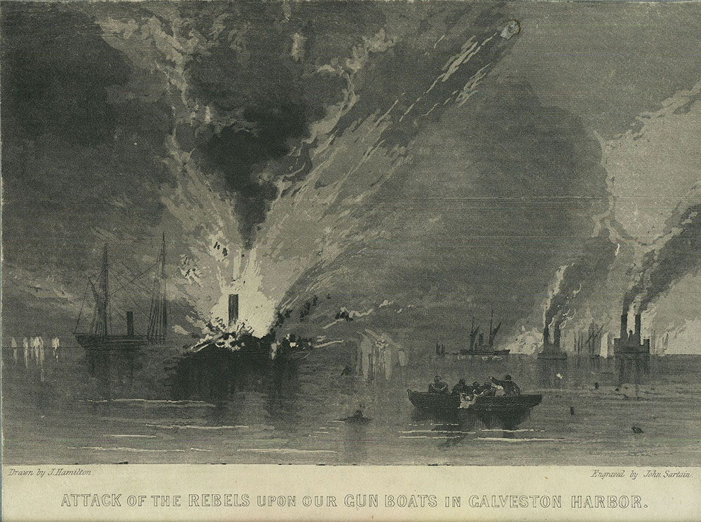 Attack of the Rebels Upon Our Gun Boats in Galveston Harbor