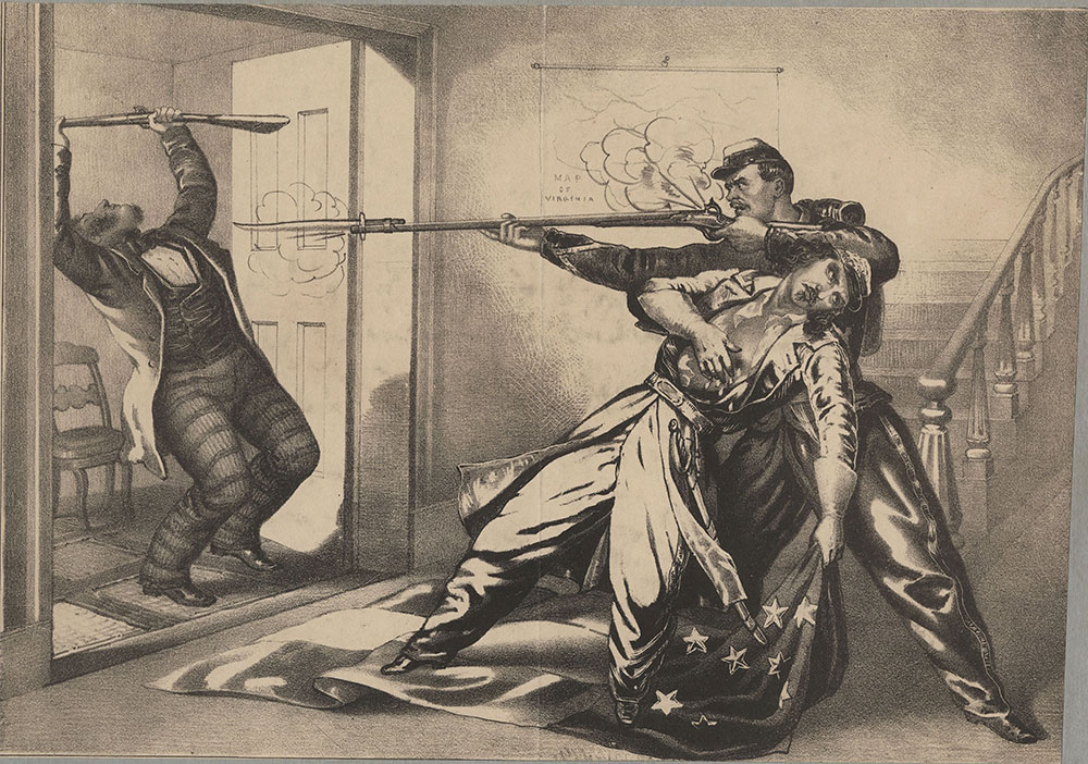 Murder of Col. Ellsworth of the Fire Zouaves.