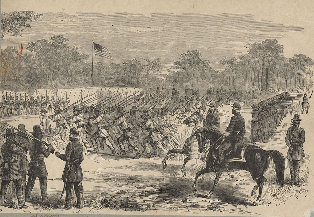 Dress Parade and Review of the First Regiment, S.C. (Colored) Volunteers at Hilton Head, S.C., under Colonel Fessenden, U.S.A., June 25th, 1862