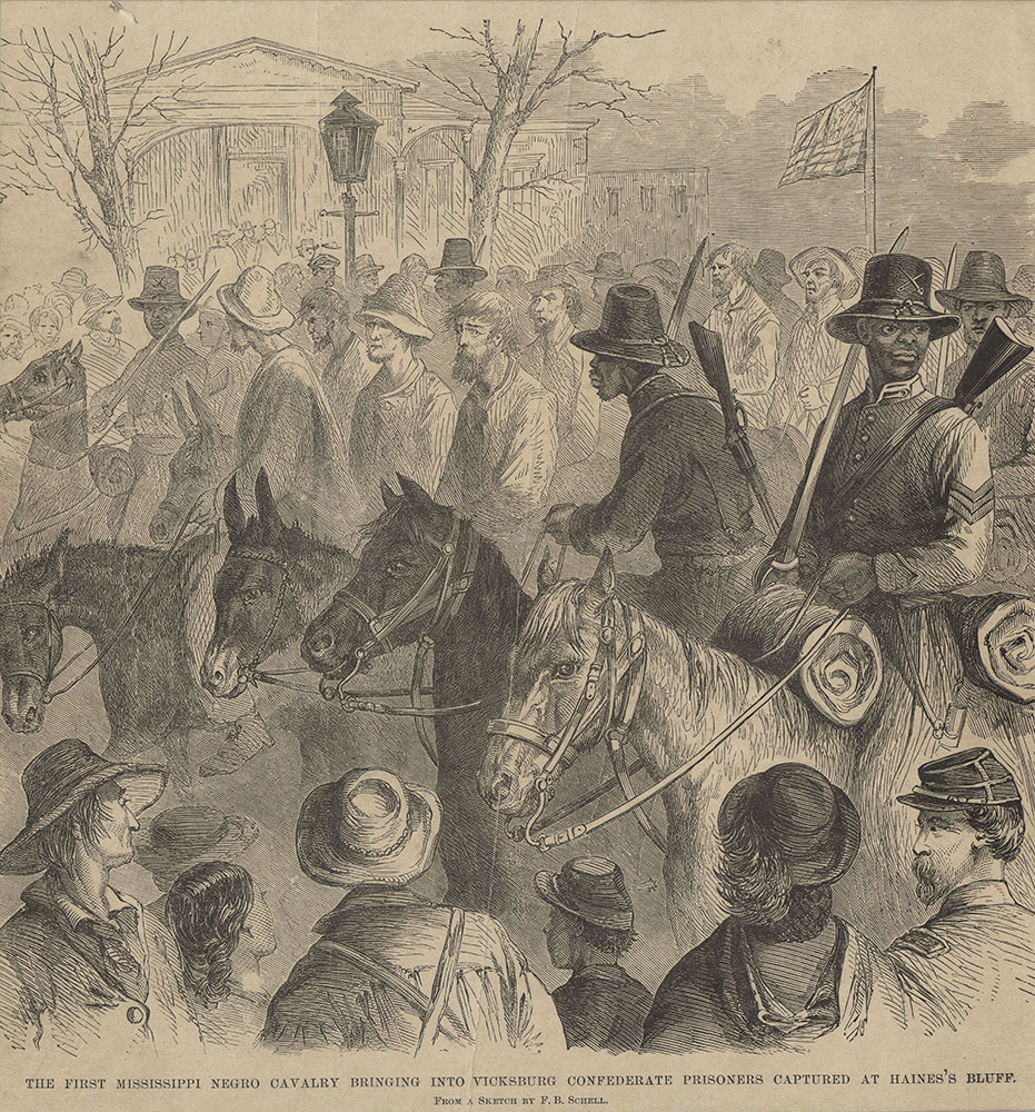 The first Mississippi Negro cavalry bringing into Vicksburg Confederate prisoners captured at Haines's Bluff.