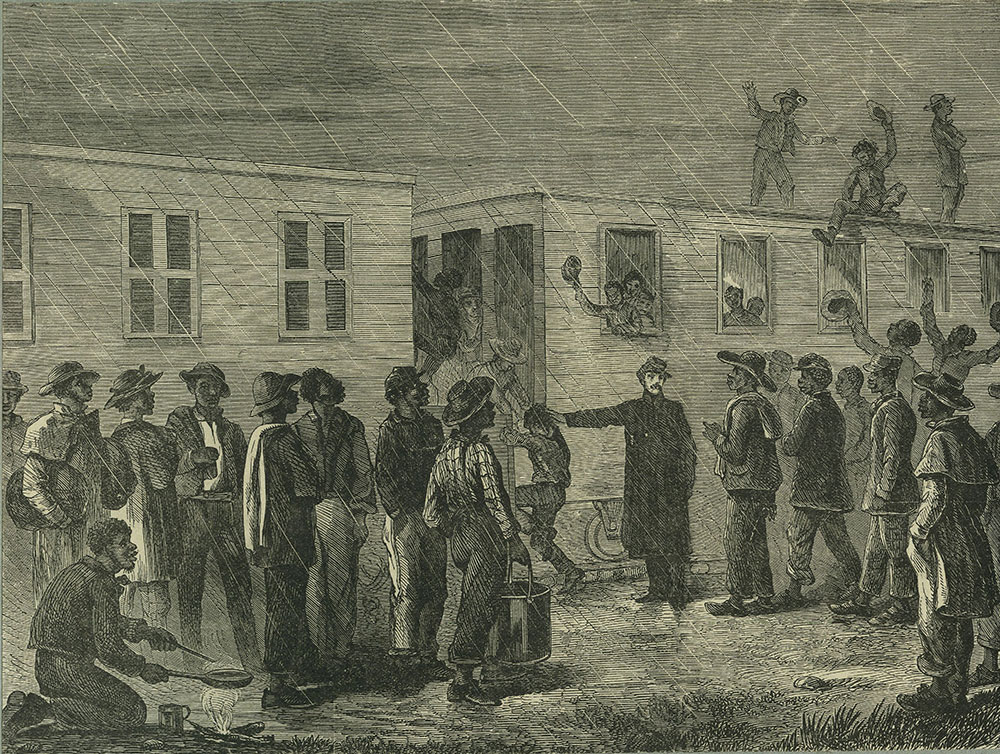 African American recruits taking the cars for Murfreesboro, Tennessee to join the Federal Army