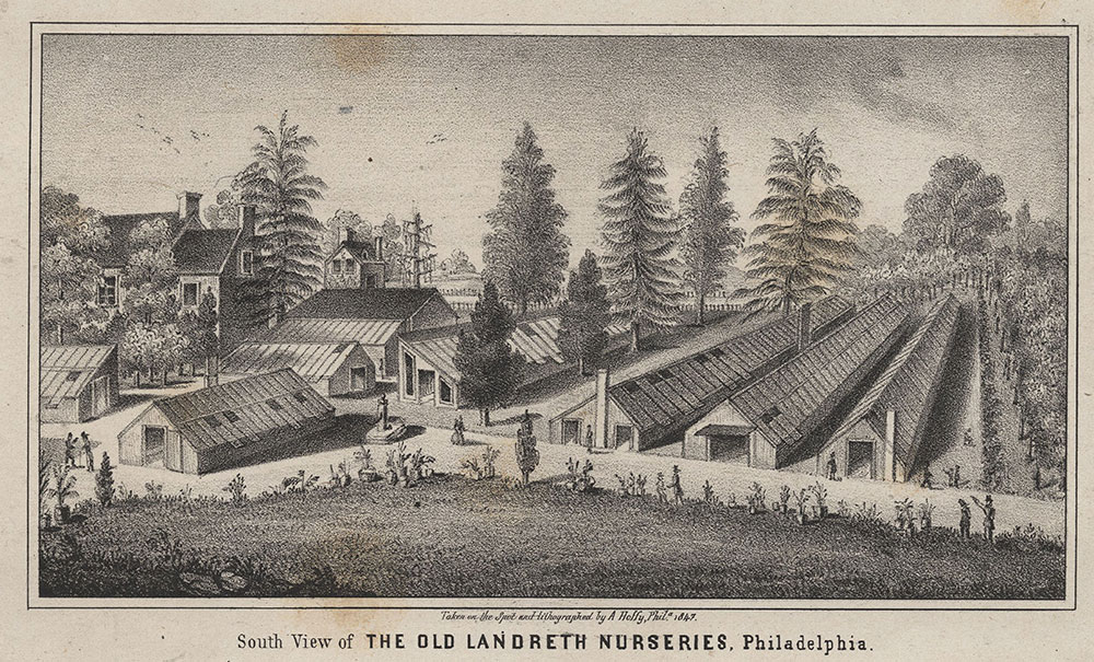 South view of the old Landreth nurseries, Philadelphia. [graphic].